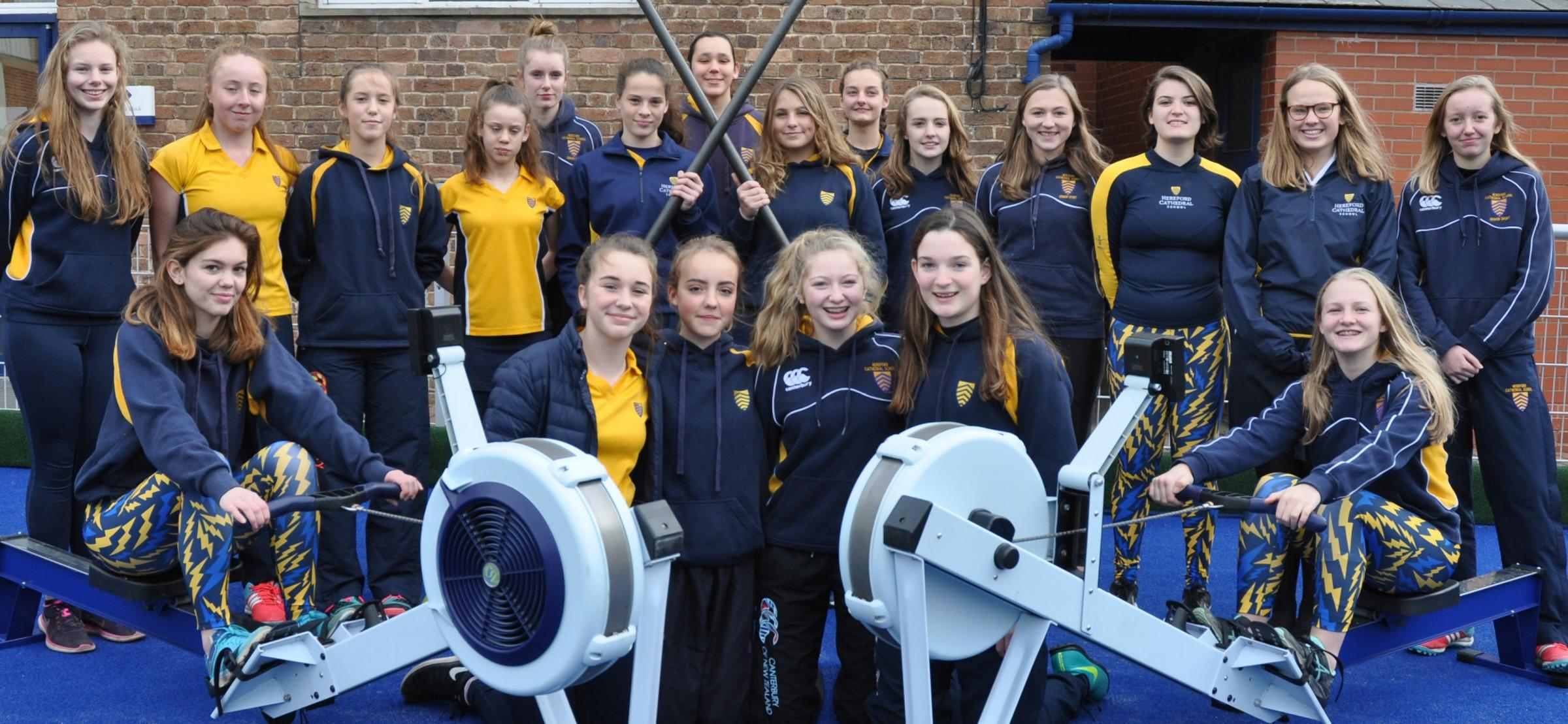 The girls of Hereford Cathedral School Boat Club