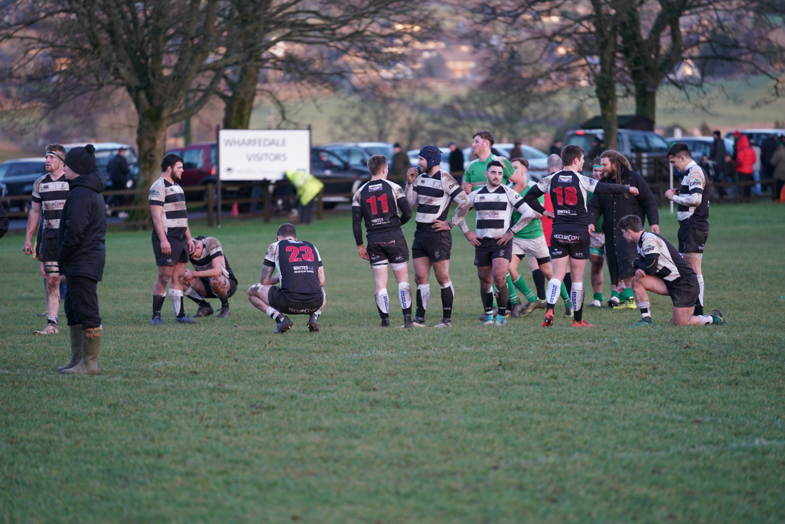 The Luctonians players are crestfallen after losing 34-15 to Wharfedale. Photo: Nigel Mee