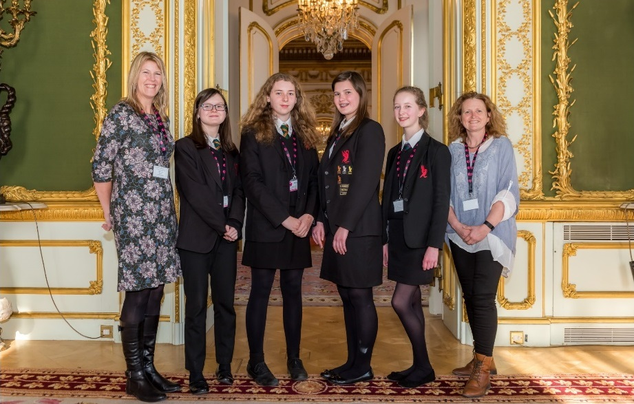 Hanley Castle headteacher Lindsey Cooke, Emily Manton, Hannah Revett, Libby Nicklin, Alex Vickers and science teacher Diana Hawkins.