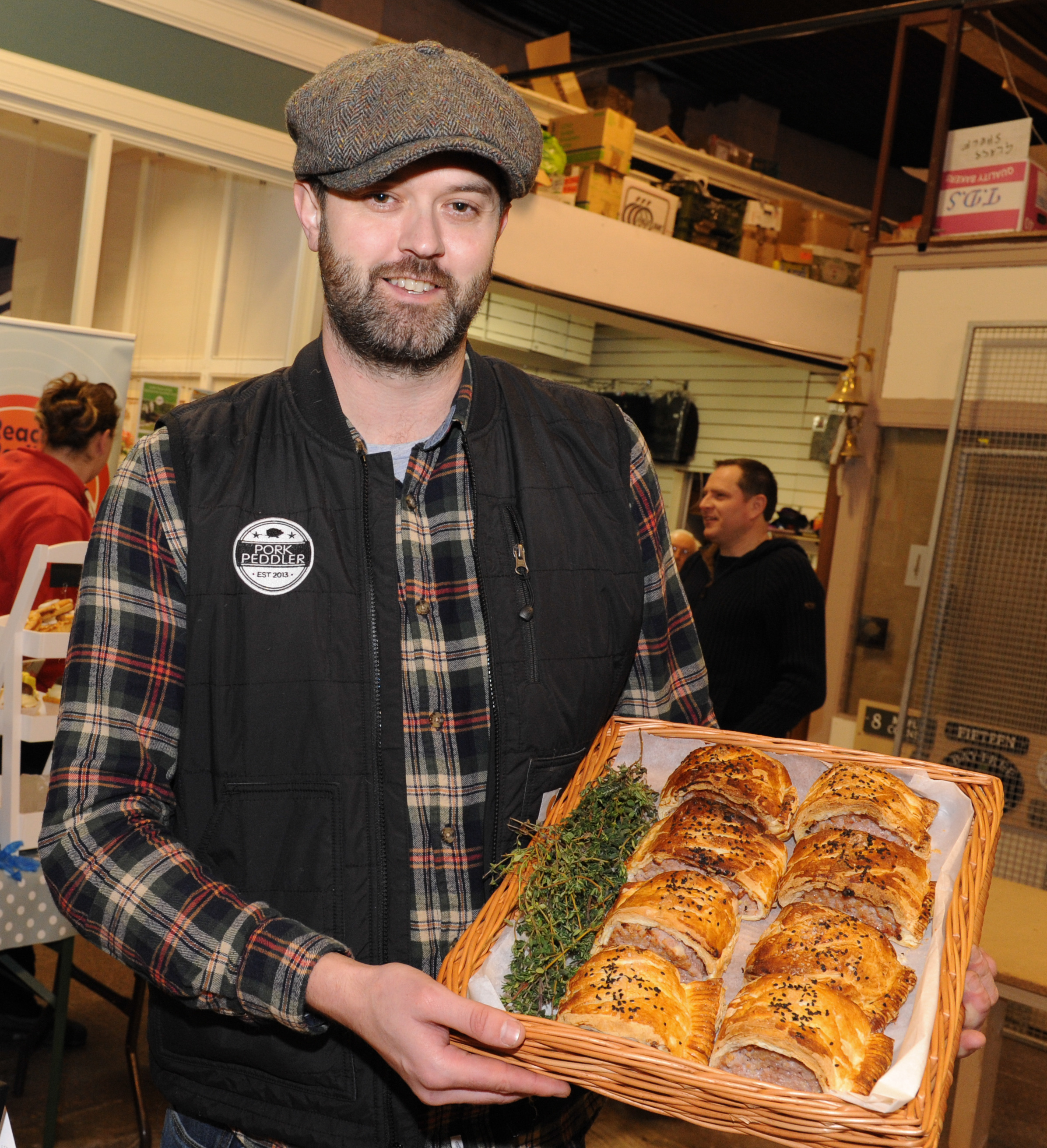 Andy Gynn from Pork Peddler with some sausage rolls ran a pop-up stall at the Butter Market earlier this year