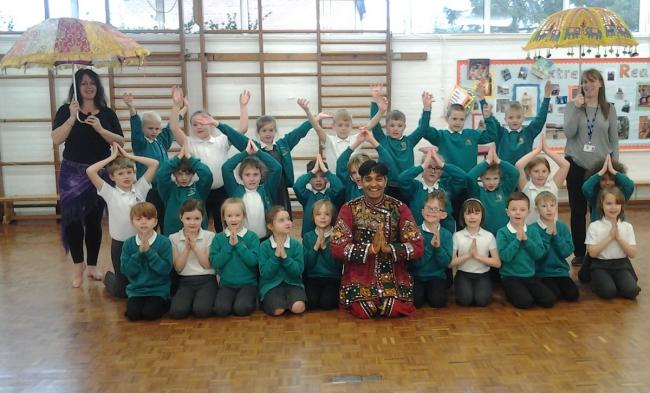 Kalpesh with pupils from Abbey Park First School