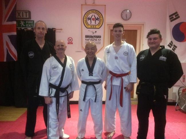 Those who took part in the seminar included: (l-r) Pete Bolton, Andy Merrick (instructor), Grand Master SW Pan, Alex Small and Louis Davis-Jones