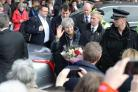 Prime Minister Theresa May meeting the public as she leaves the Guildhall, Salisbury (Andrew Matthews/PA)