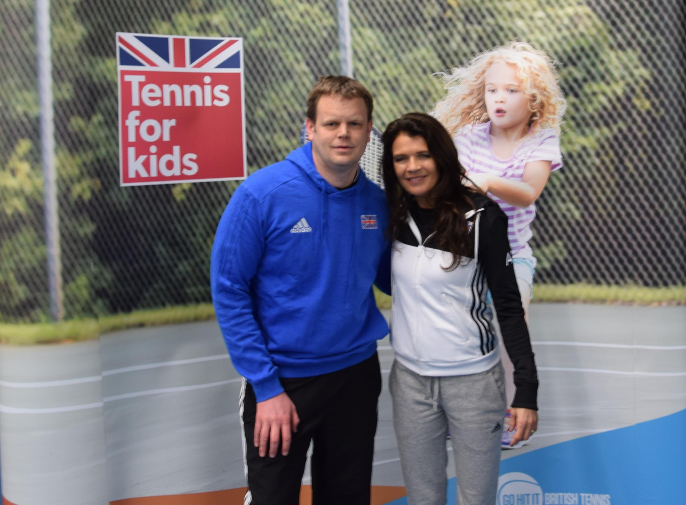 Kington coach Steve Hodges with British Number one, Annabel Croft