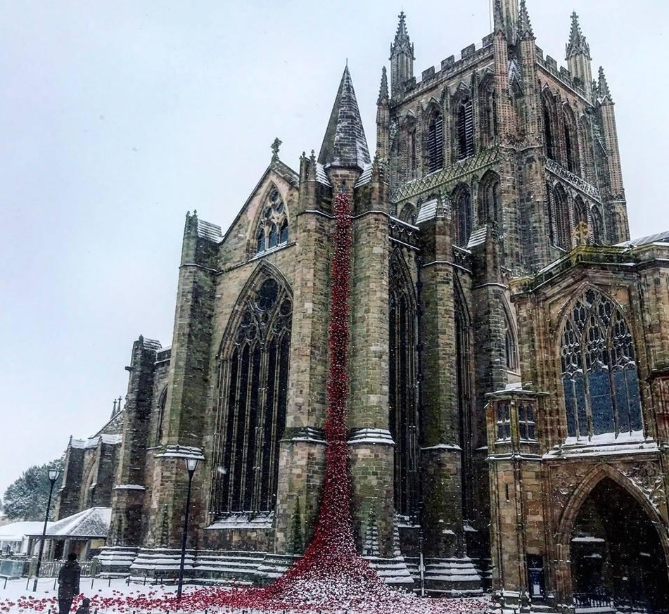 Not even the snow (or rain) has stopped huge numbers of visitors from attending the Weeping Window display at Hereford Cathedral