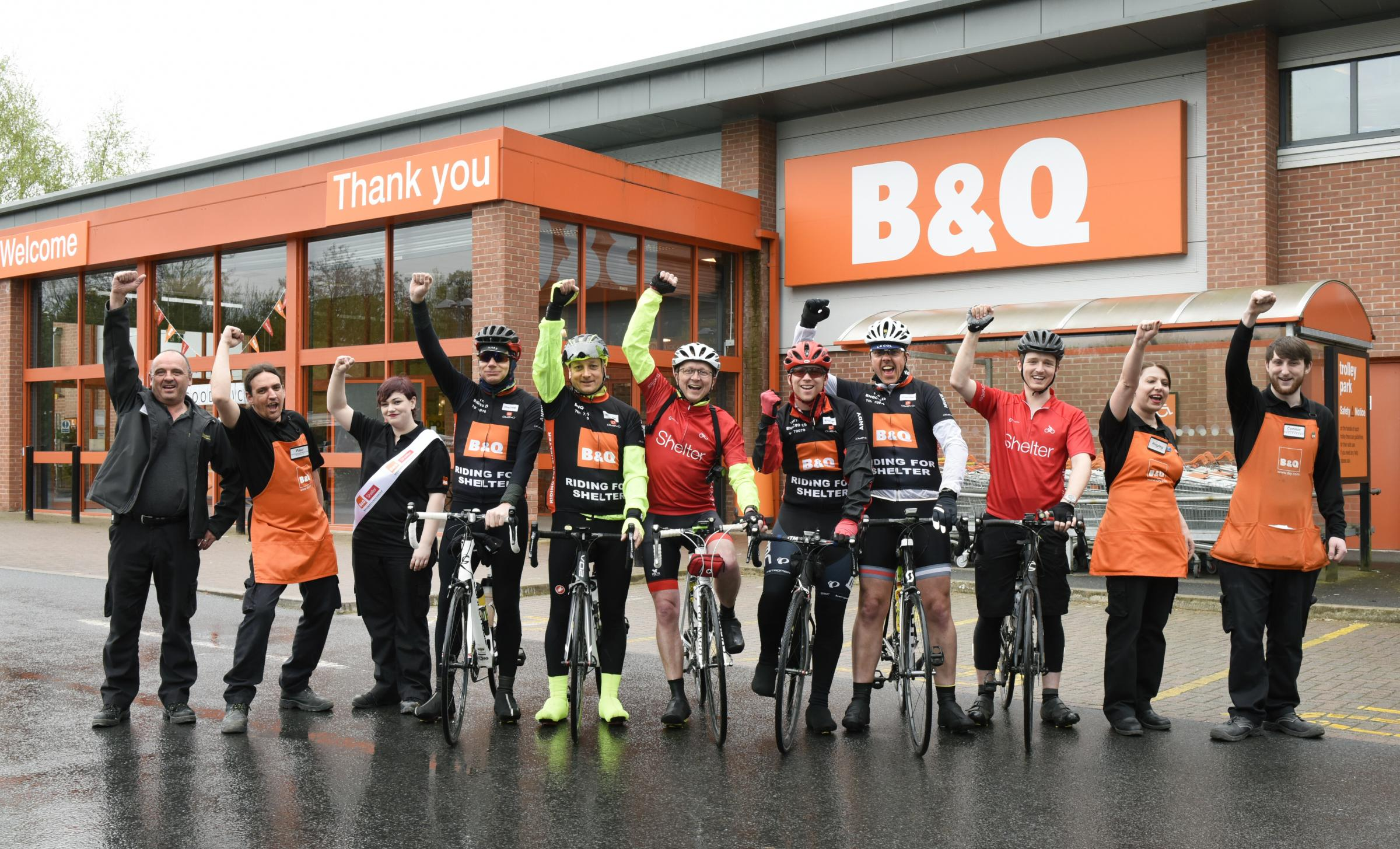 B&Q employees, at B&Q Leominster on the Tour de B&Q, raising funds for housing and homelessness charity Shelter.