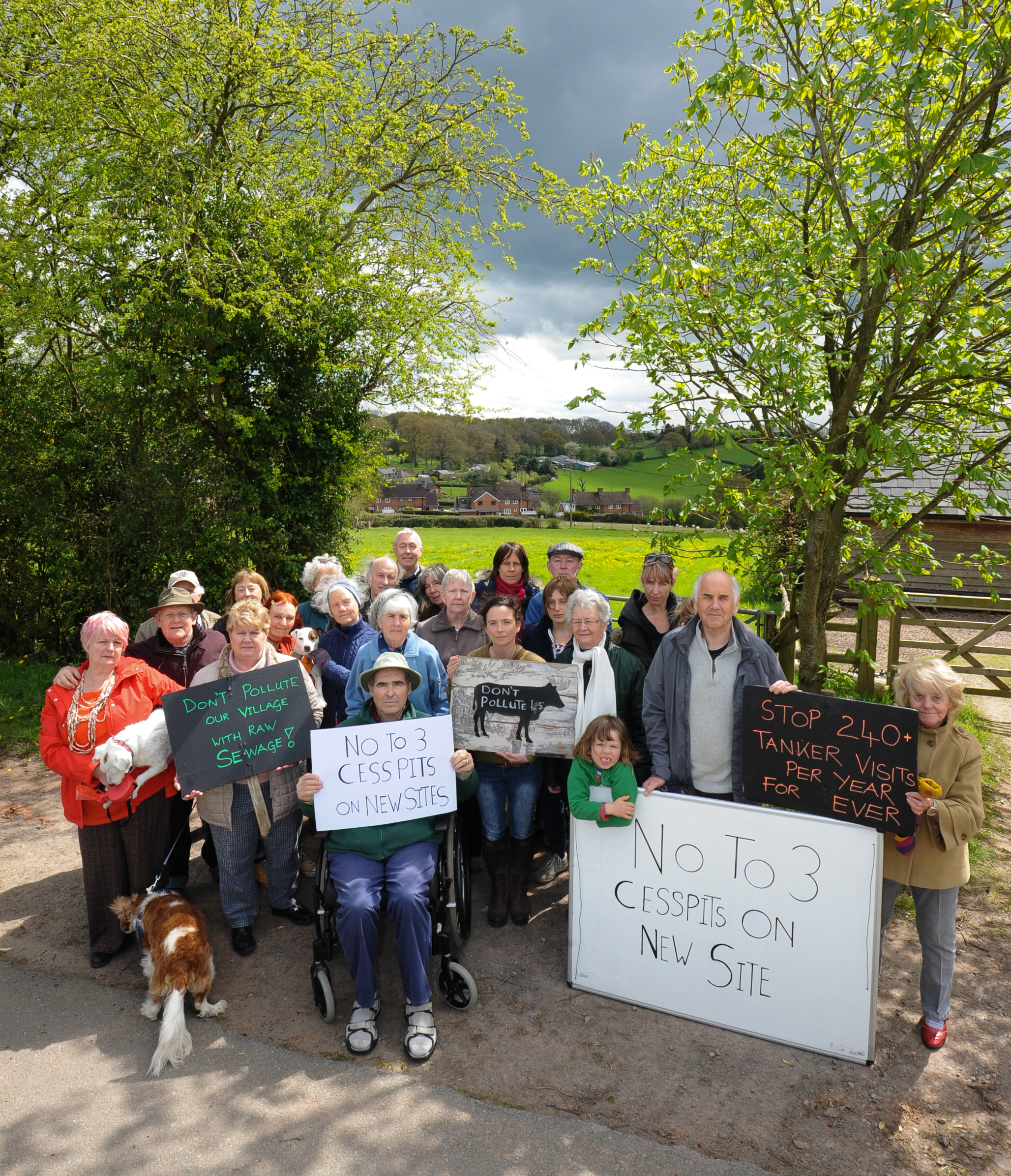 Orcop Hill residents are opposed to plans for three houses to be built in the hamlet, each with its own cesspitt..
