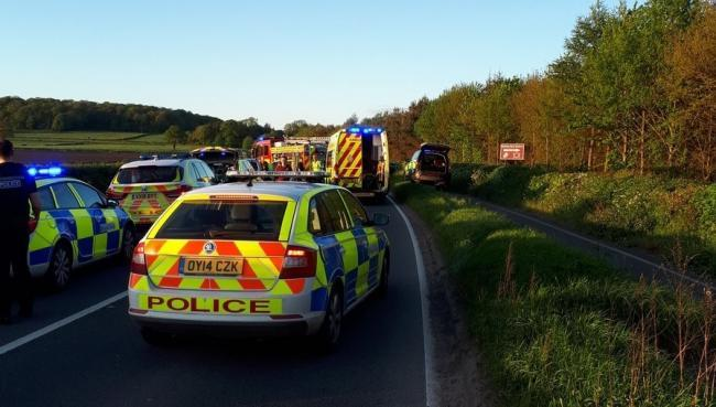 The scene of the accident on the A49 between Leominster and Ludlow. Photo: @OPUHereford