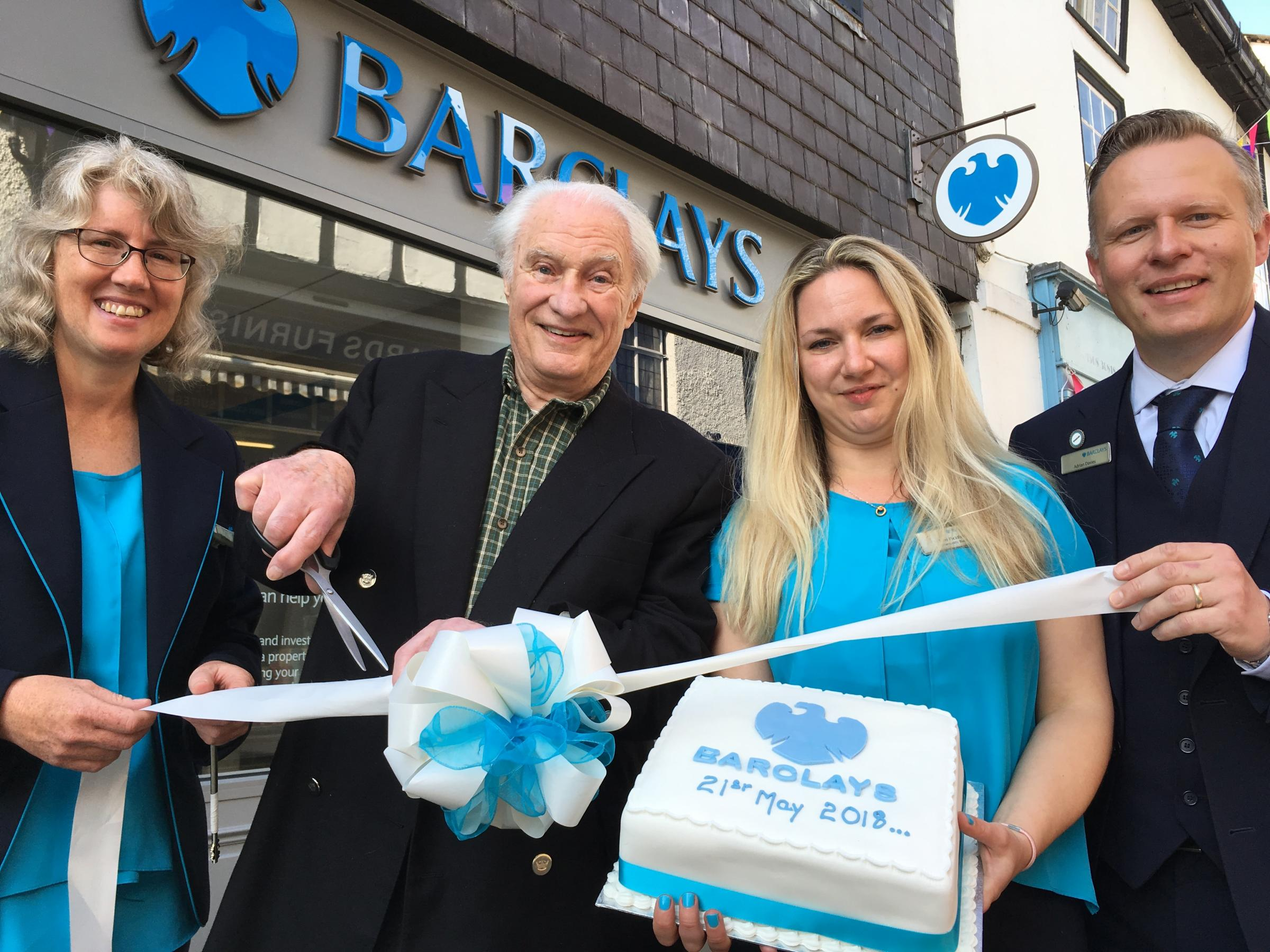 left to right Barclays staff member Joanne Plante, Mr John Greenwood, Kim Pickford (Branch Manager) and Adrian Davies, Community Banking Director for the area.