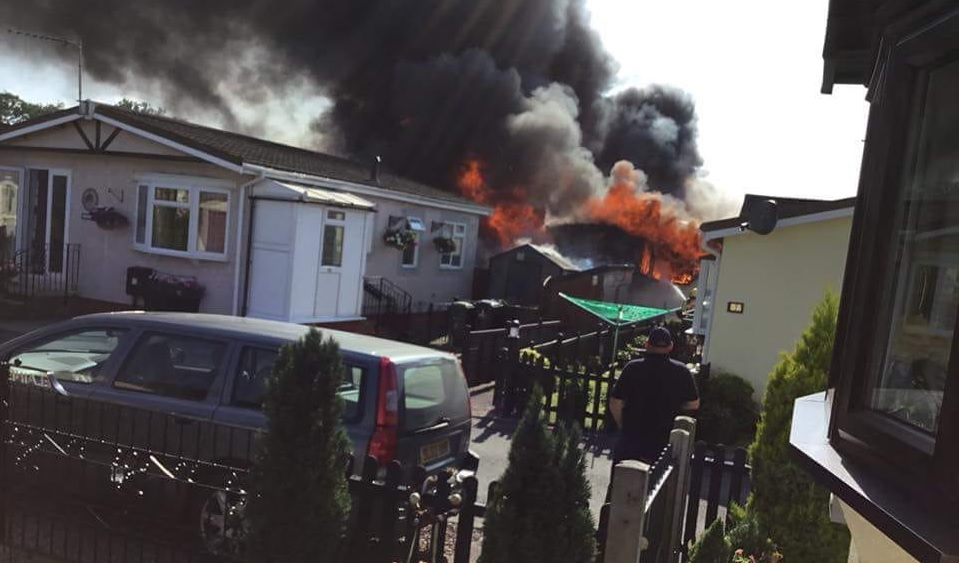The fire burns through the house in Hereford. Photo: Elaine Garrett.