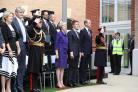Theresa May, the Duke of Westminster and the Duke of Cambridge attend the official handover of the Defence and National Rehabilitation Centre
