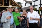 Official reopening of Chequers pub by Wye Valley Brewery. Etnam Street, Leominster. from left: Peter & Vernon Amor from Wye Valley Brewery with Landlady & Landlord Nina & Bob Newman.
