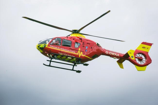 The air ambulance was called to Three Crosses Road this morning