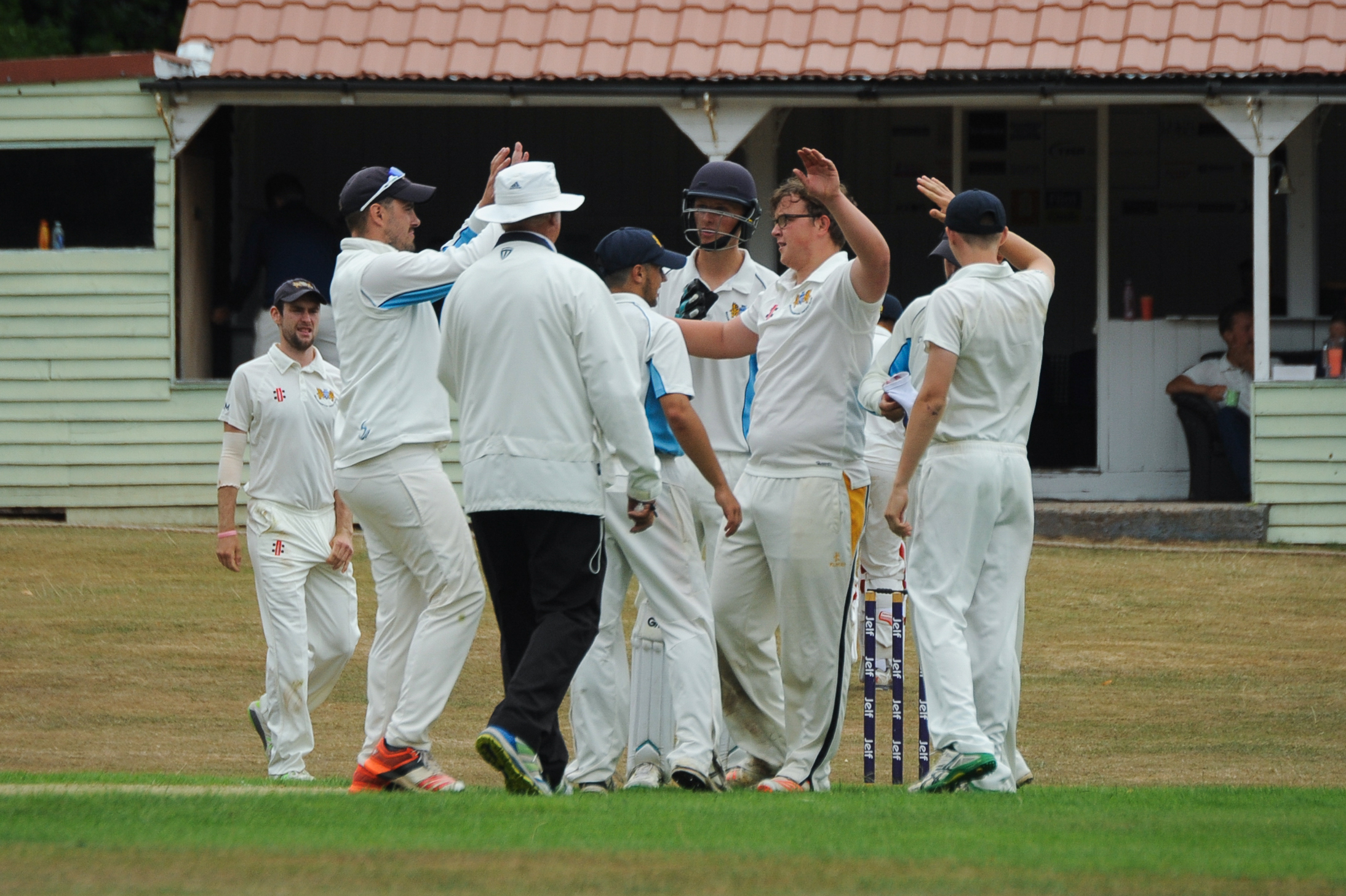 Brockhampton Cricket Club v Leamington CC - Freddie Cross is congratualted after taking the fourth wicket..