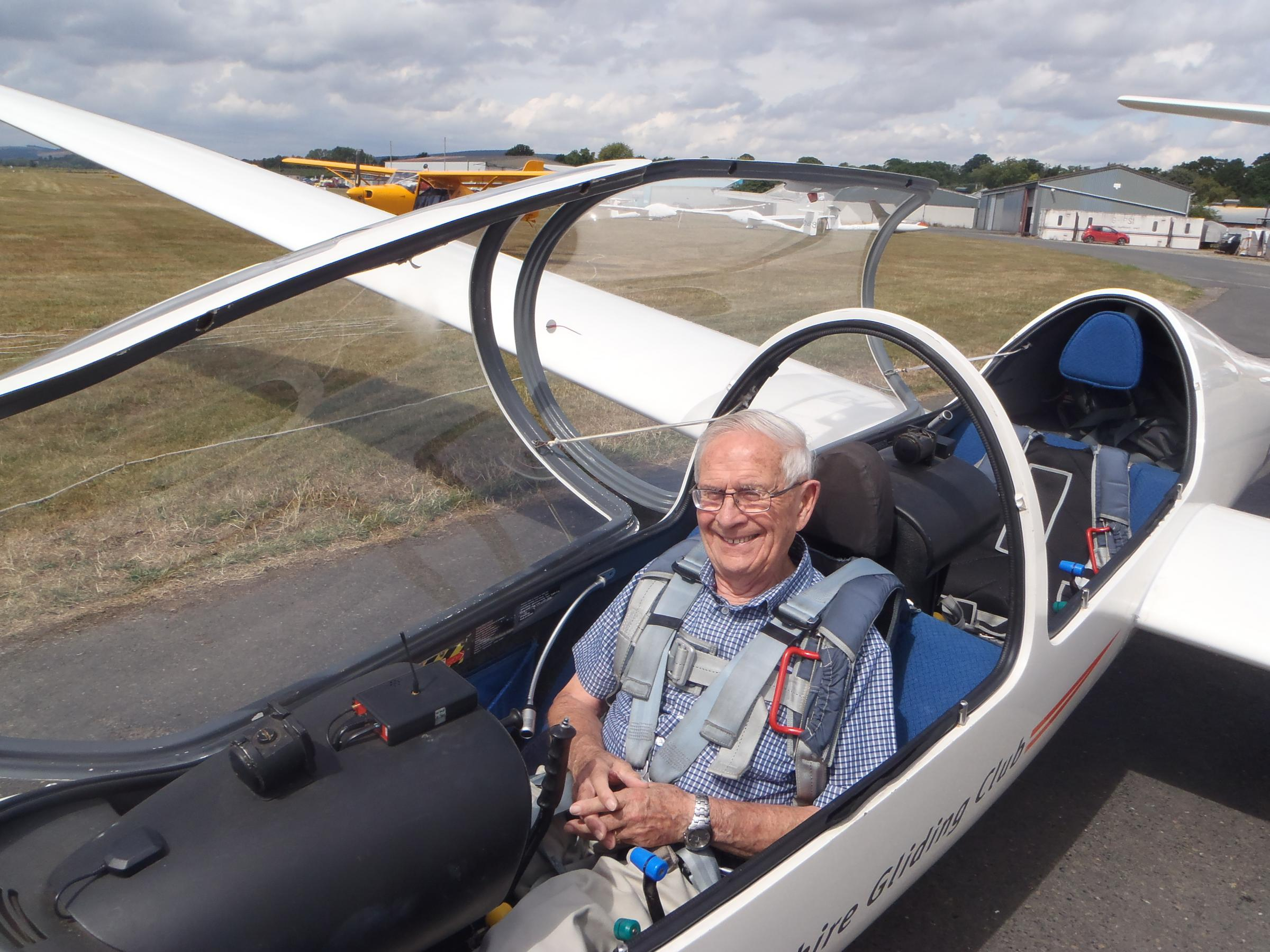 Wally Bowles in the training glider at Shobdon Airfield. Photo by Dewi Edwards