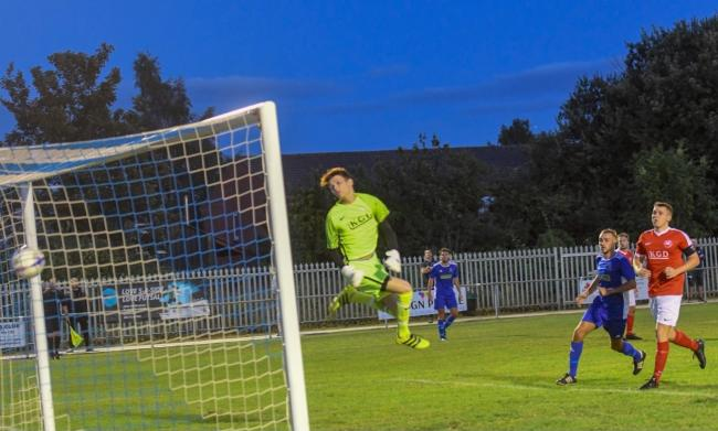 Kiea Cowley nets during Lads Club's 2-0 victory over Pegasus Juniors. Picture: Will Cheshire