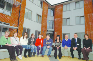 Staff and students at the Royal National College for the Blind outside one of their new halls of residence.
