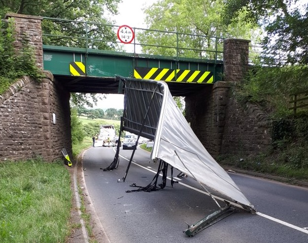 The A465 was closed after a lorry struck the railway bridge near Pontrilas. Photo: @OPUHereford/Twitter