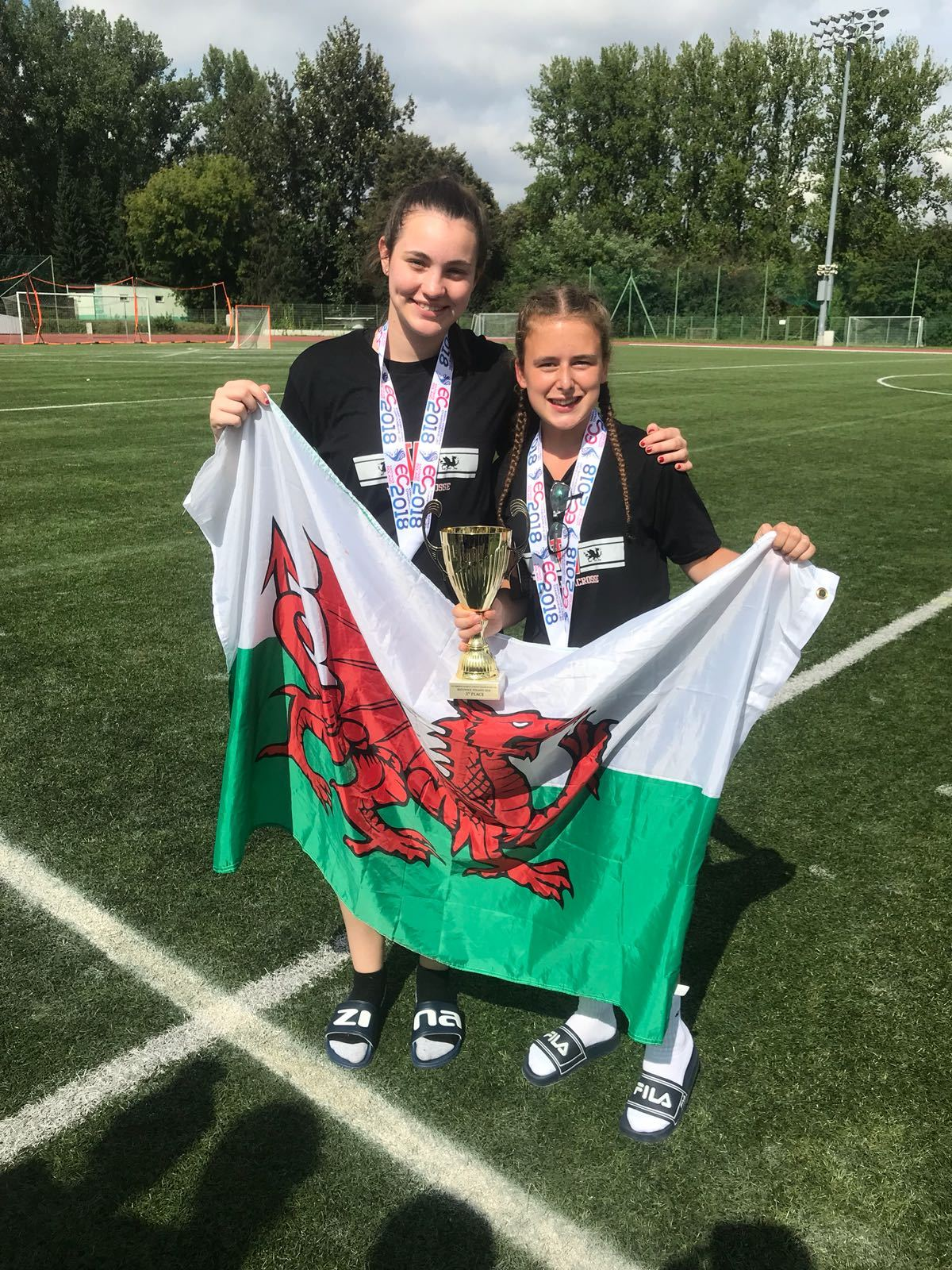 : Herefordshire's Bethan Morgan (left) and Madison Jones impressed for Wales at the European Women's Under-20s Lacrosse Championships in Poland.