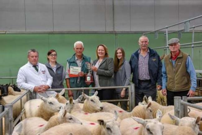 Champion Pen of Breeding Ewes M/s P G & J M M Maund, Lower Town - best pen of yearling ewes £185.From left: Rob Meadmore (auctioneer), Mr Peter Maund (champion) and Mrs L Taylor representing Dick Edwards flanked by representatives of Farmers &am