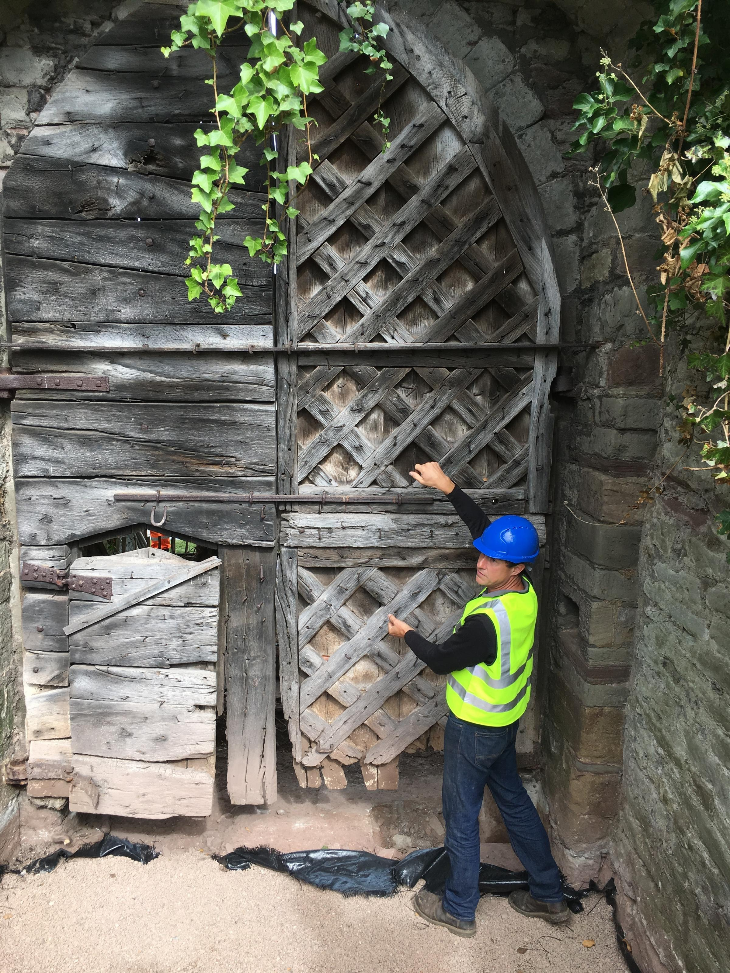 John Best from John Nethercott & Co. inspecting the gates before their removal