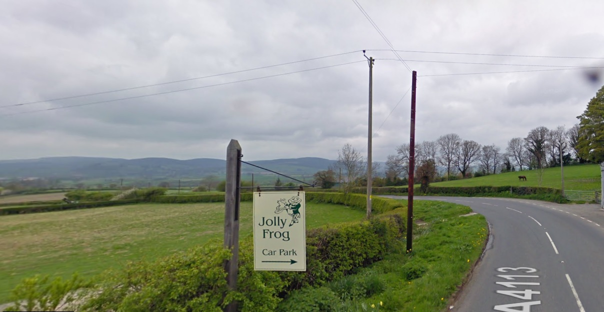 The road is blocked near to the Jolly Frog on the A4113. Image: Google Maps