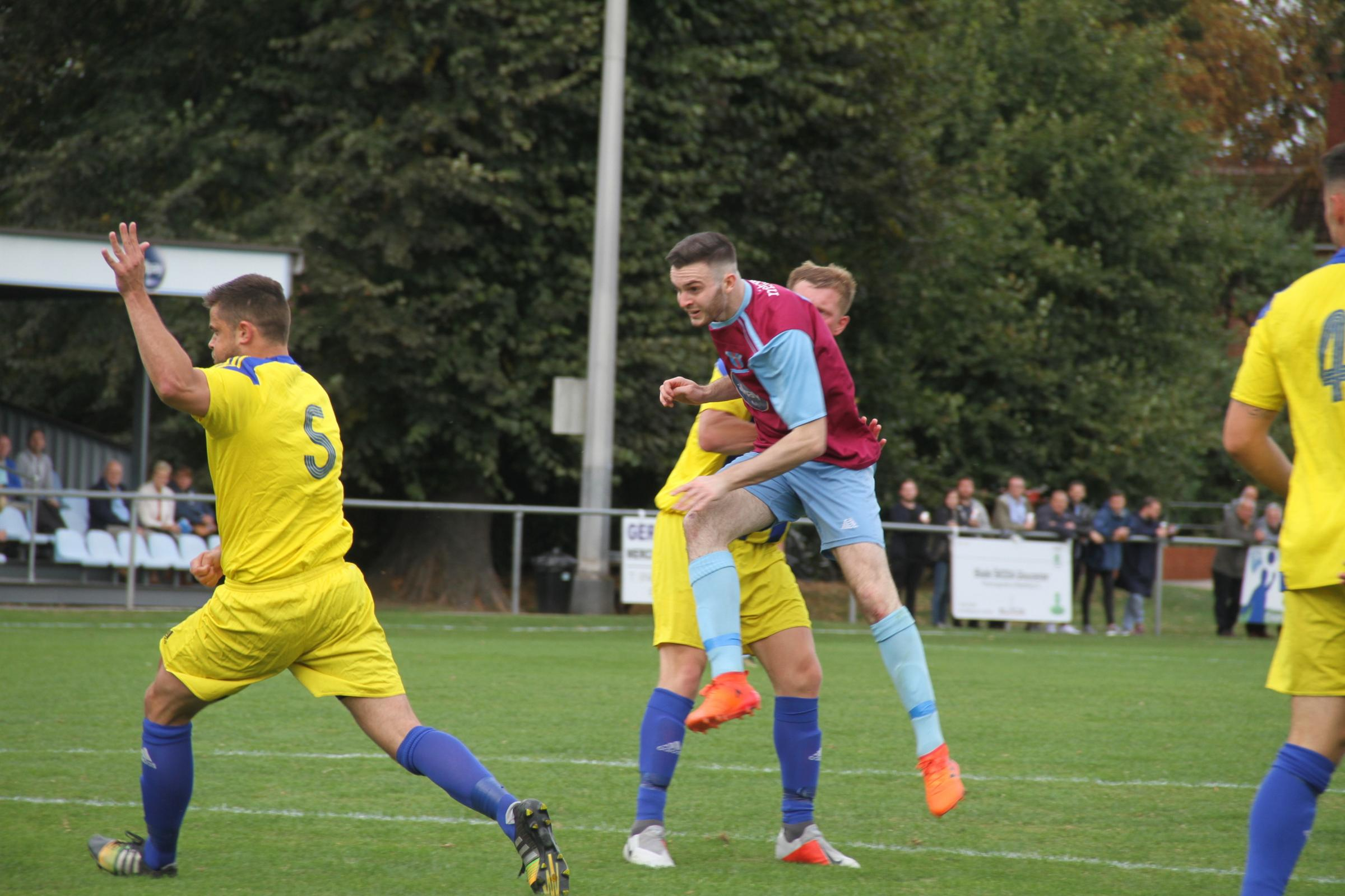 Jamie Molyneux nets the opening goal against Coventry Sphinx. Picture: Matthew Cale