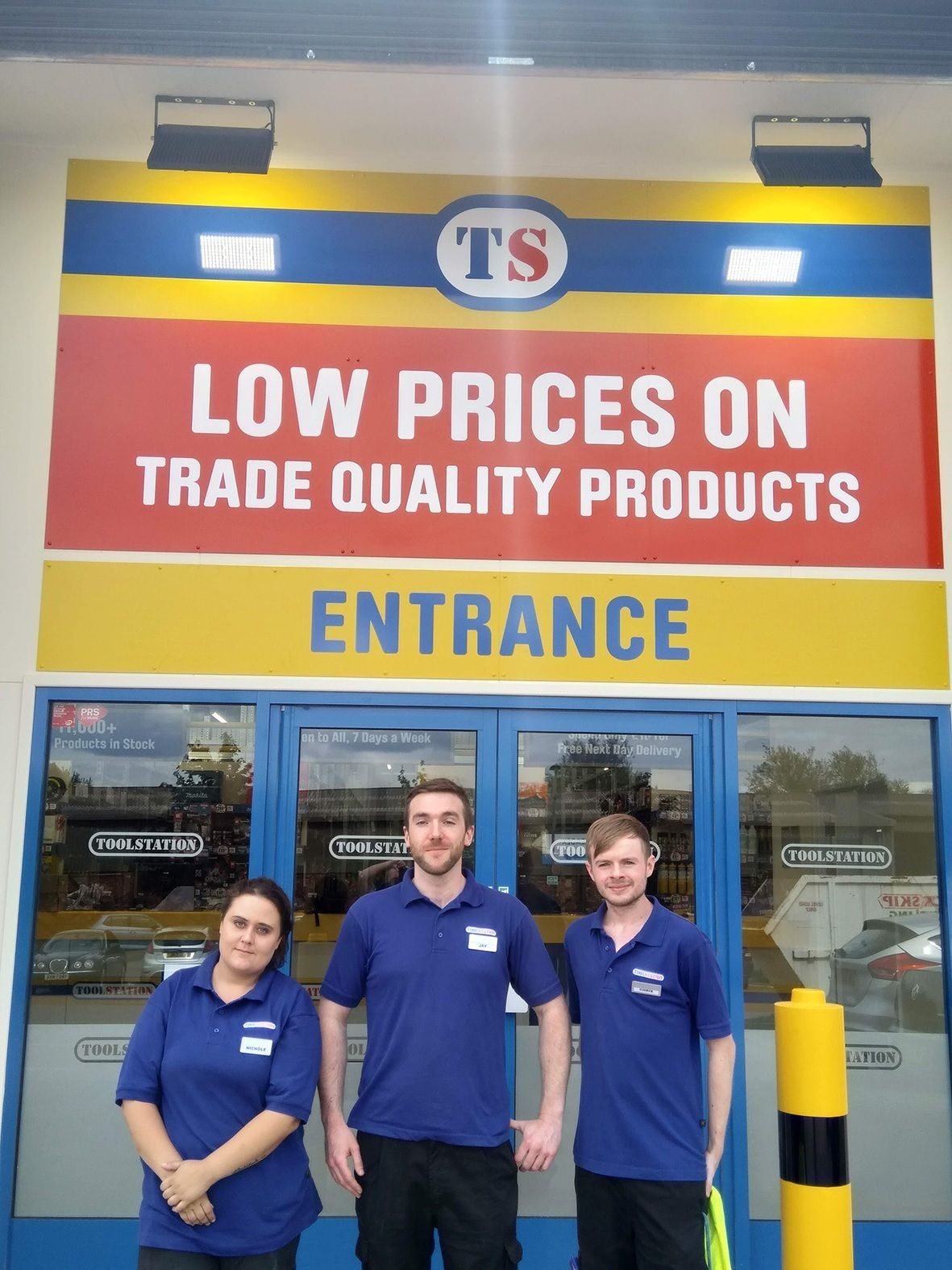 Nichole Preece, senior sevice advisor, Jay Flanagan, store manager and Chris Hucker, supervisor at Toolstation Ross-on-Wye