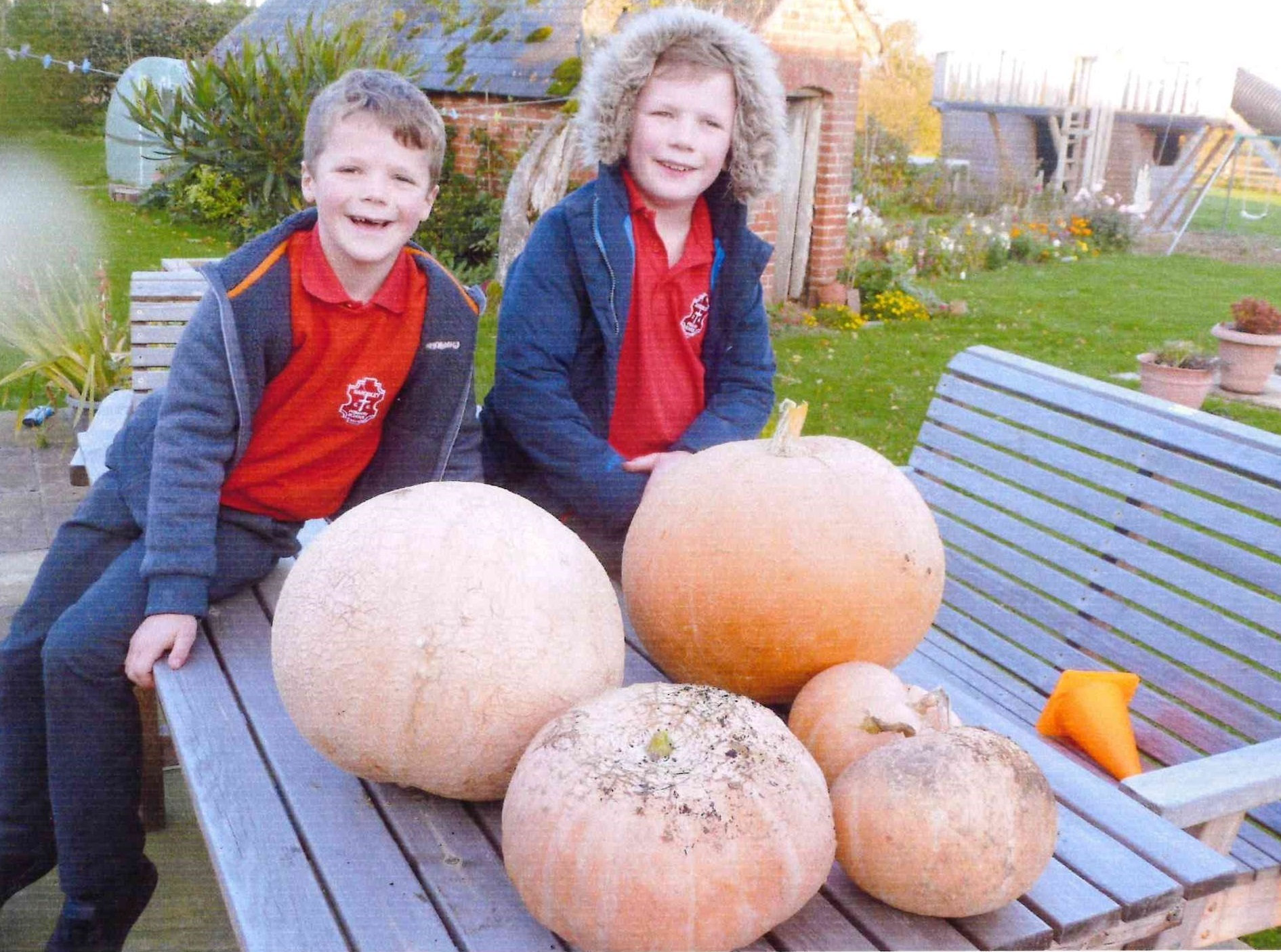 Jack and Oliver Morris with their giant pumpkins