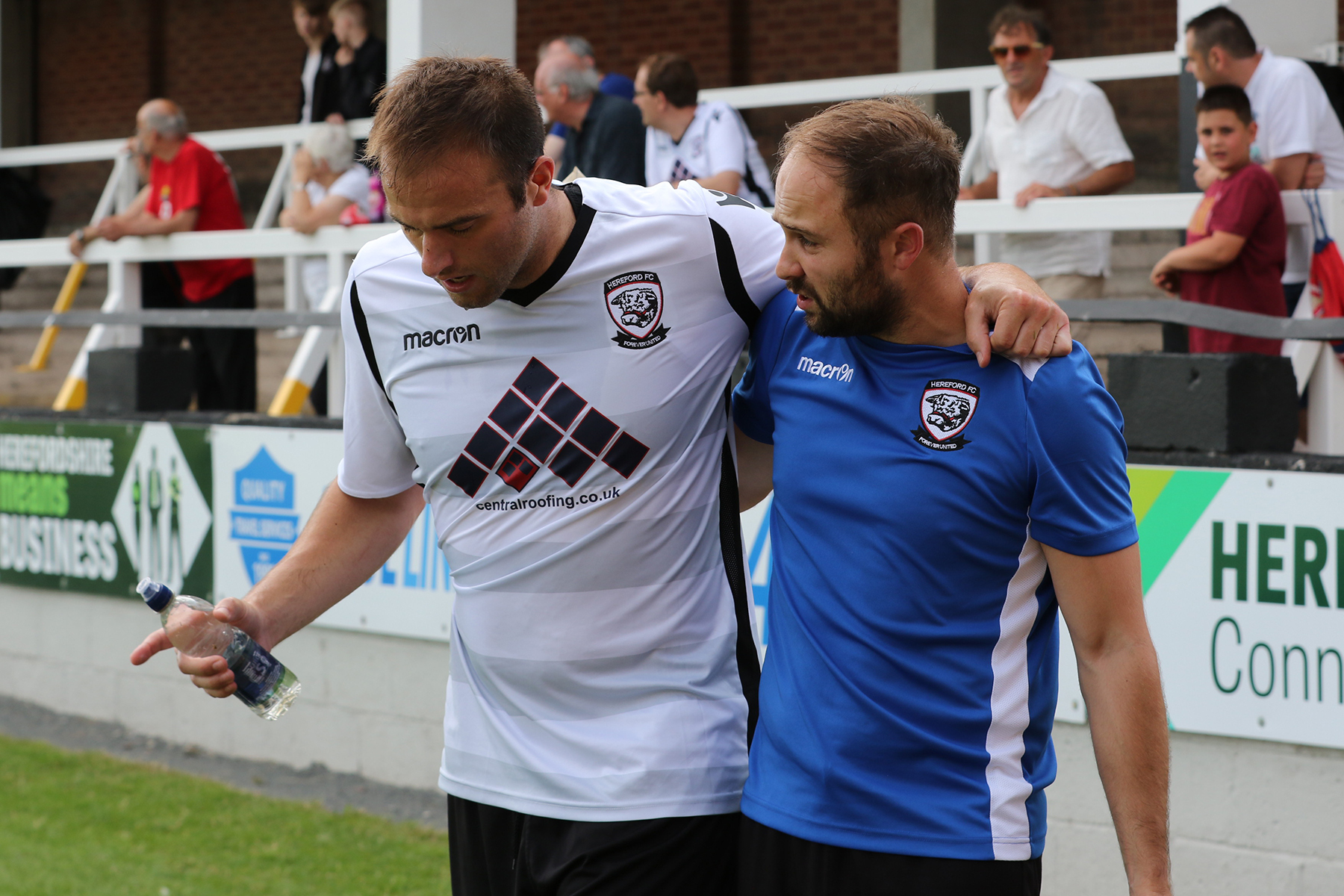 Mike Symons fractured his tibia in a pre-season friendly against Newport County. Picture: Steve Niblett/ Hereford FC