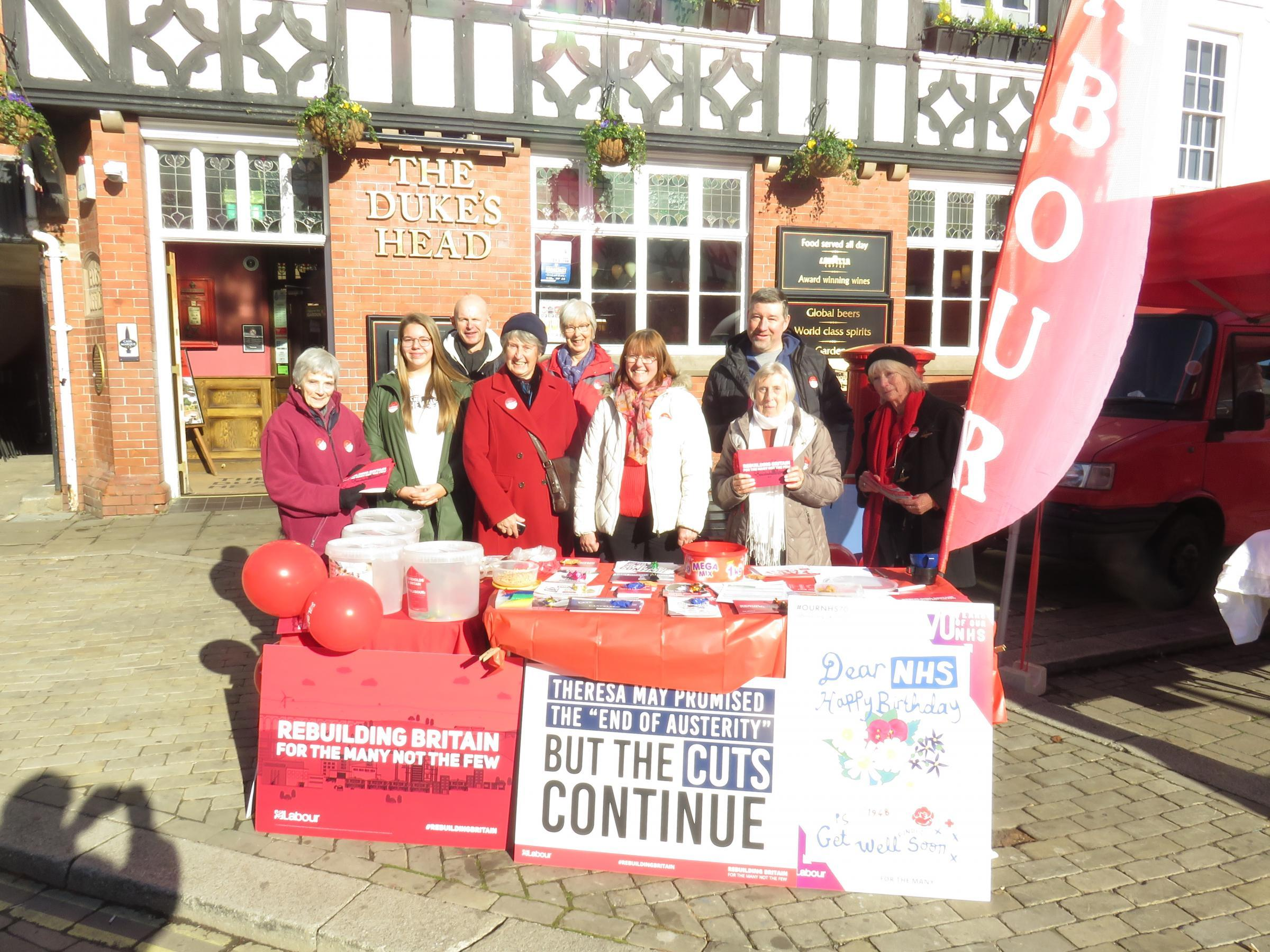 Labour Party stallholders in Leominster on November 2