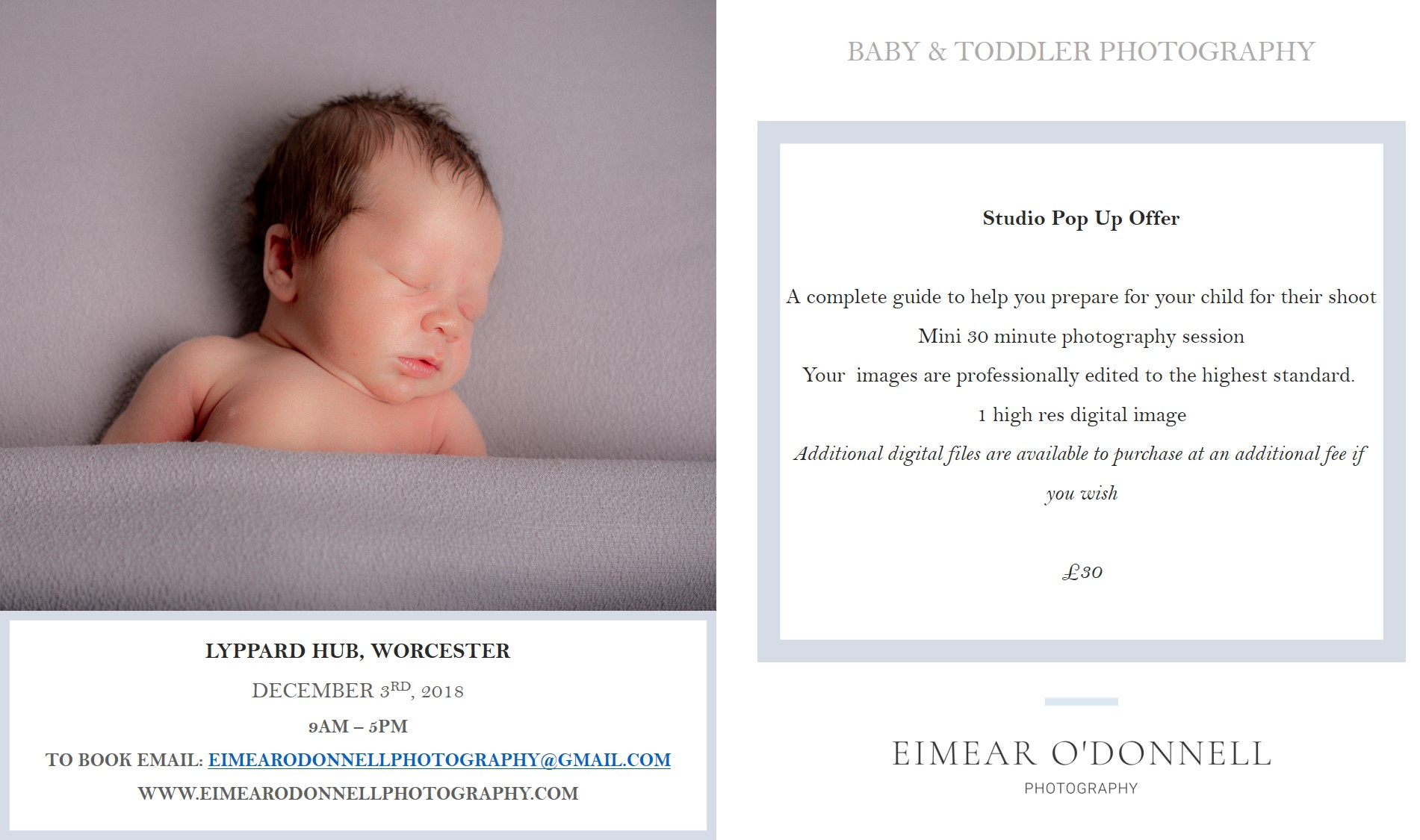 Newborn, Baby & Toddler Photography Pop Up