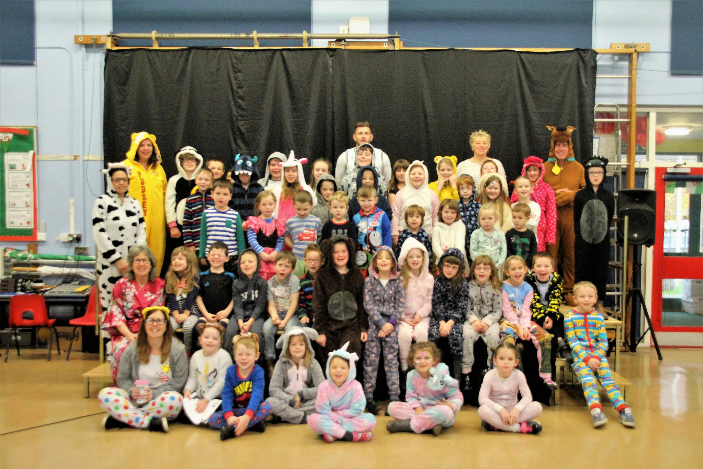 Children and staff from Radnor Valley school and Radnor Valley Rainbows
