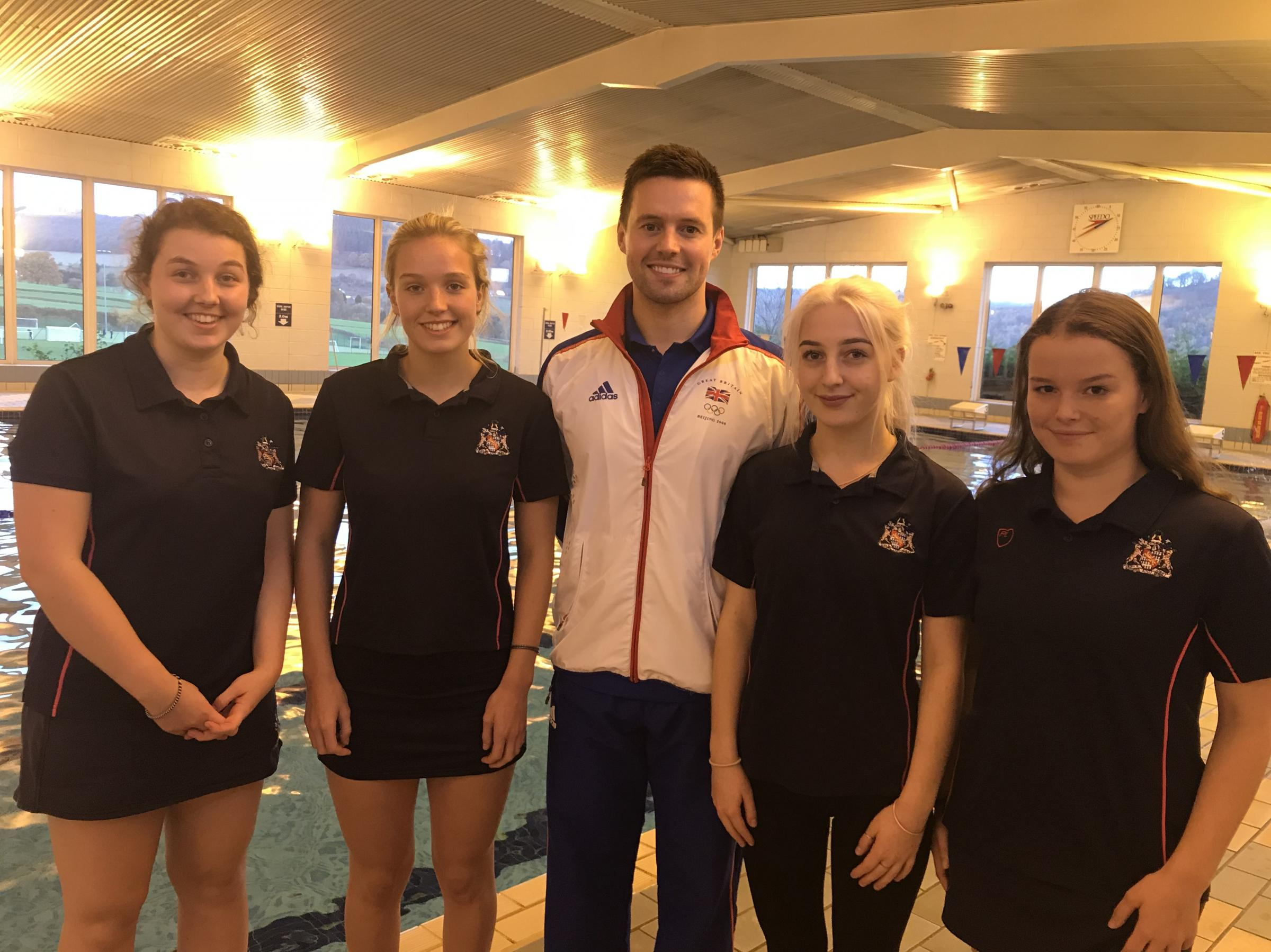 Herefordshire teenager, Caitlin Livingston (second from right), with former Olympic swimmer Thomas Haffield and fellow students Lucy Creasey, Ellie Horton and Eva Barry