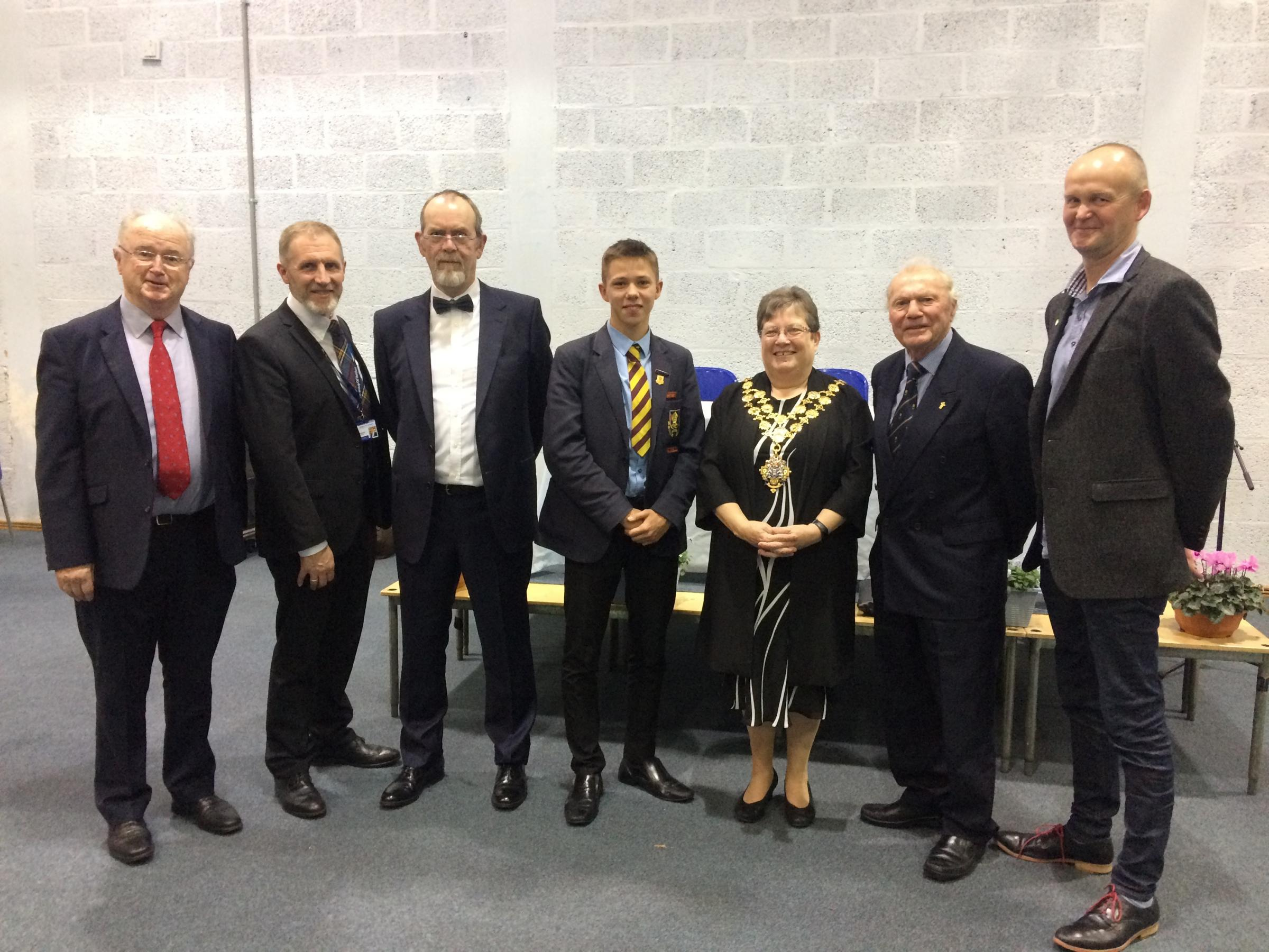 Pictured (left to right) are chairman of governors Tim O'Byrne, headteacher Martin Henton, Professor Dave Allen from NMITE, head boy Sam Fitzer, Mayor of Hereford Cllr Sue Boulter, John Escott and Richard Ecclestone