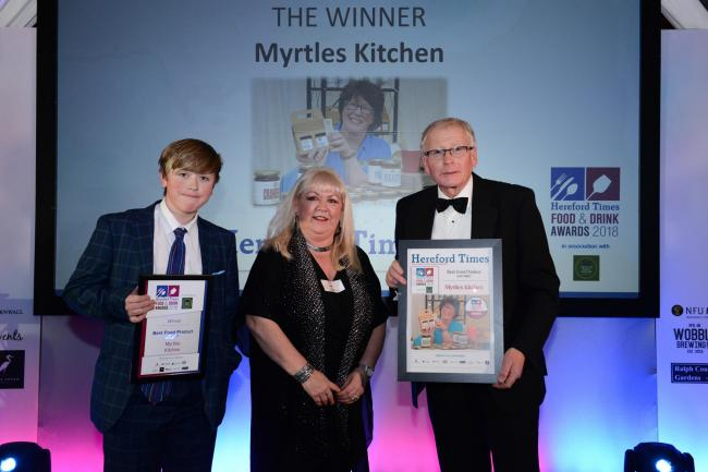 Hugh Raven and son George picked up the award on the night from Debra Orr, ad manager at the Hereford Times.