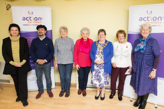 From left: Ety (Balanced Lives Social Host - Action For Elders), Rod (Balanced Lives Participant), Glenise, Jan and Ivy (Balanced Lives Participants), Cllr Sue Boulter, Mayor of Hereford and Lorrain Morgan, Chair of Trustees (Action For Elders). Photo: Ju