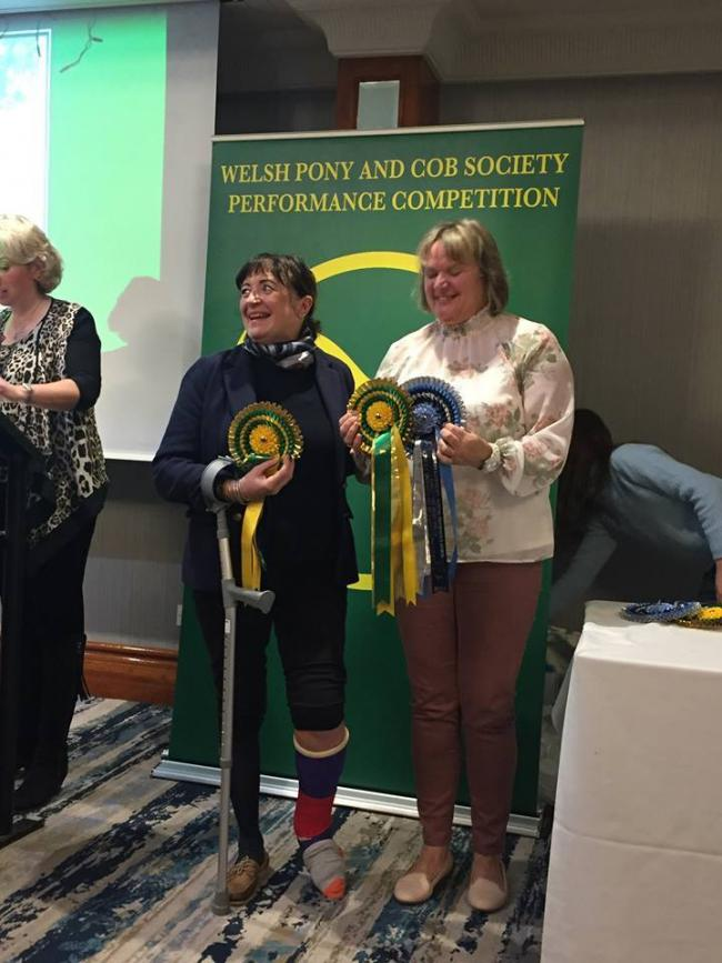 Jan Howells (left) collecting her 46th Welsh Pony and Cob Society (WPCS) performance award