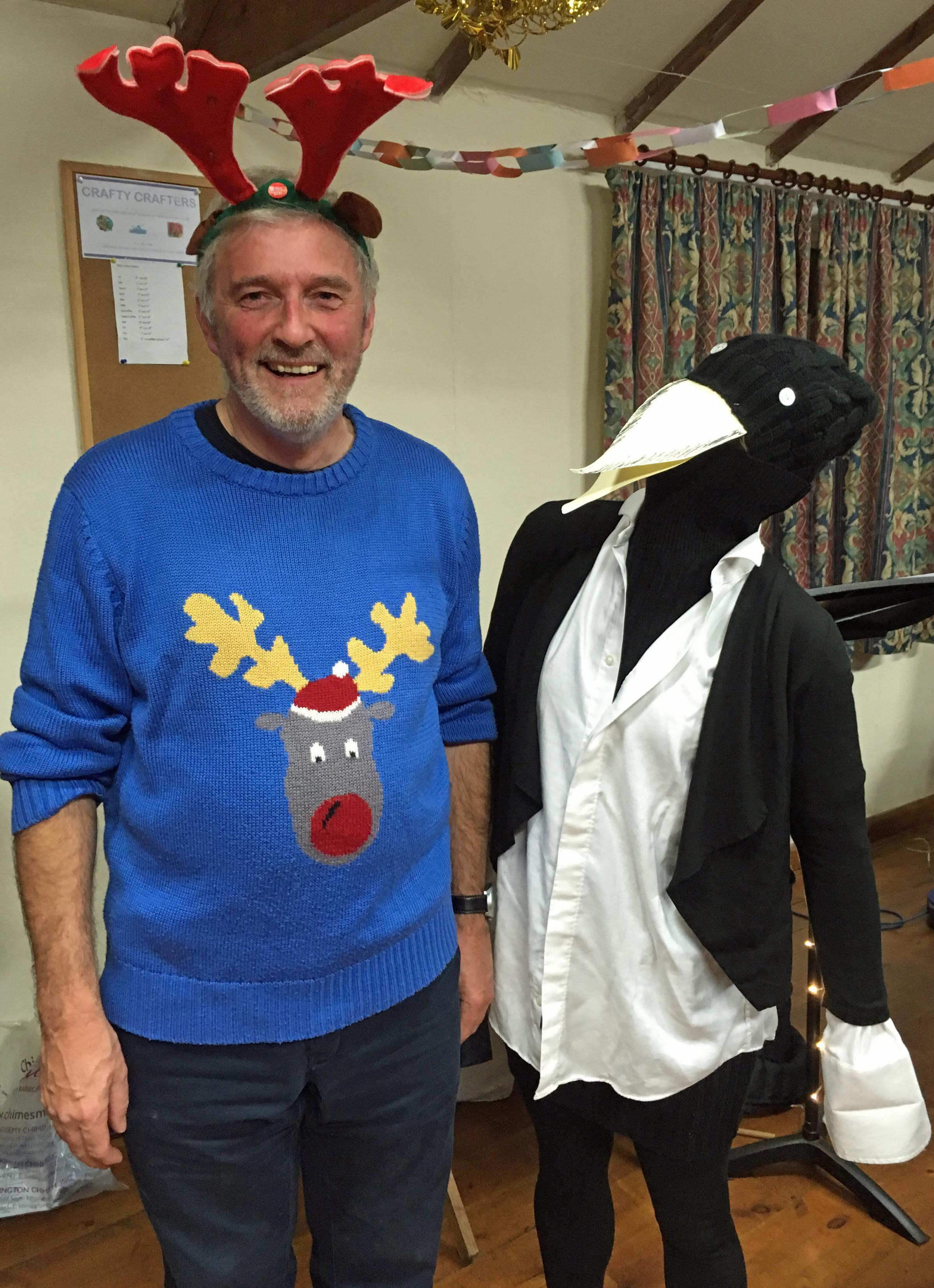 Rob Evans and Steve the penguin