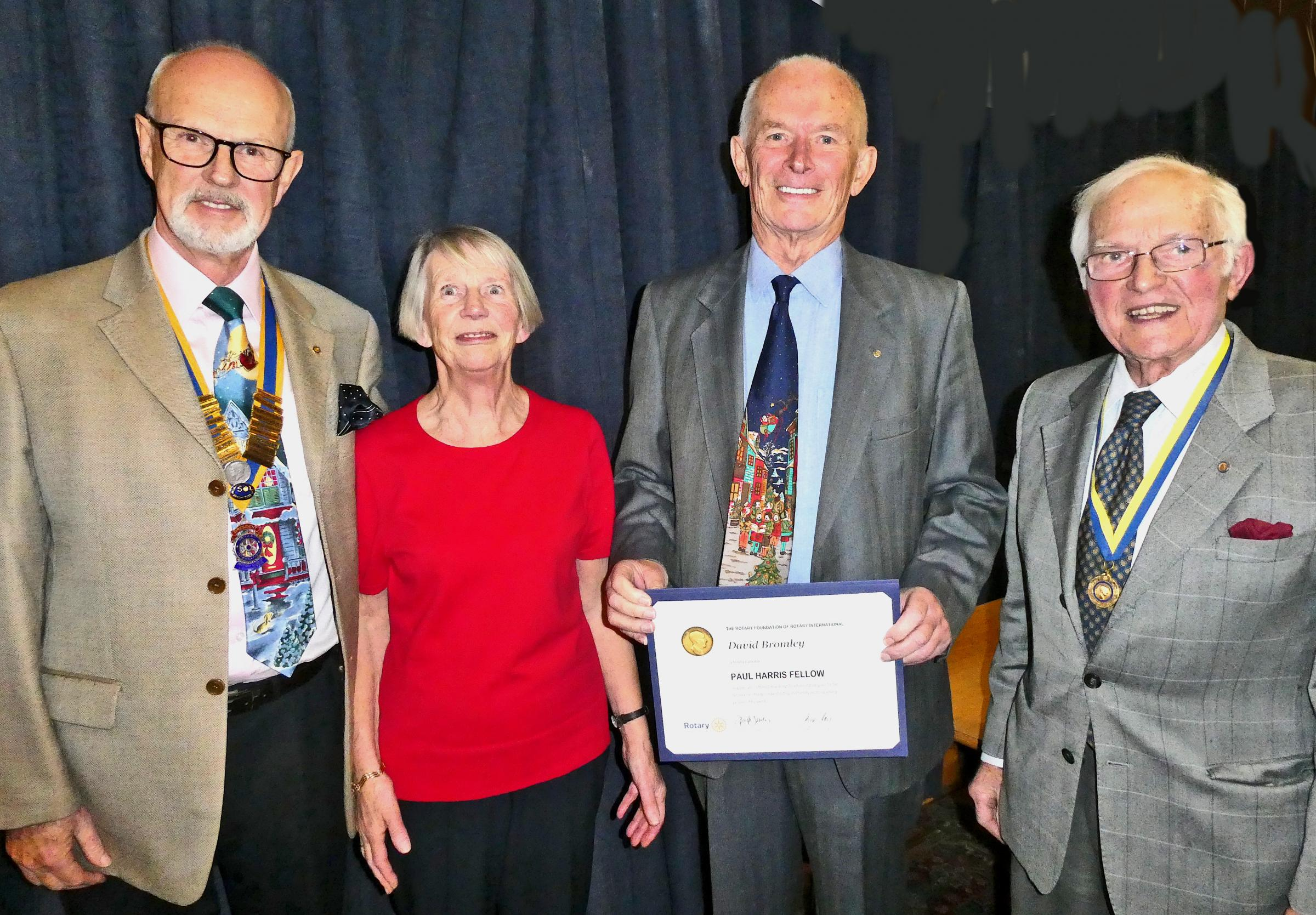 David Bromley with his award, presented by Arthur Davis (right) with Doreen Bromley and President Ian Pedrick looking on