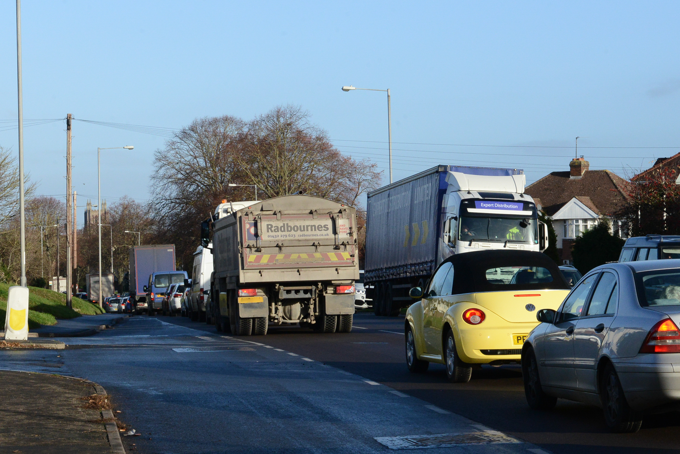 Traffic backs up on Ross Road in Hereford this morning as roadworks cause delays