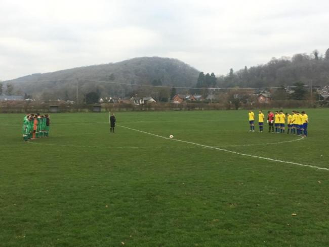 Fownhope players held a minute silence ahead of their match against Tenbury United