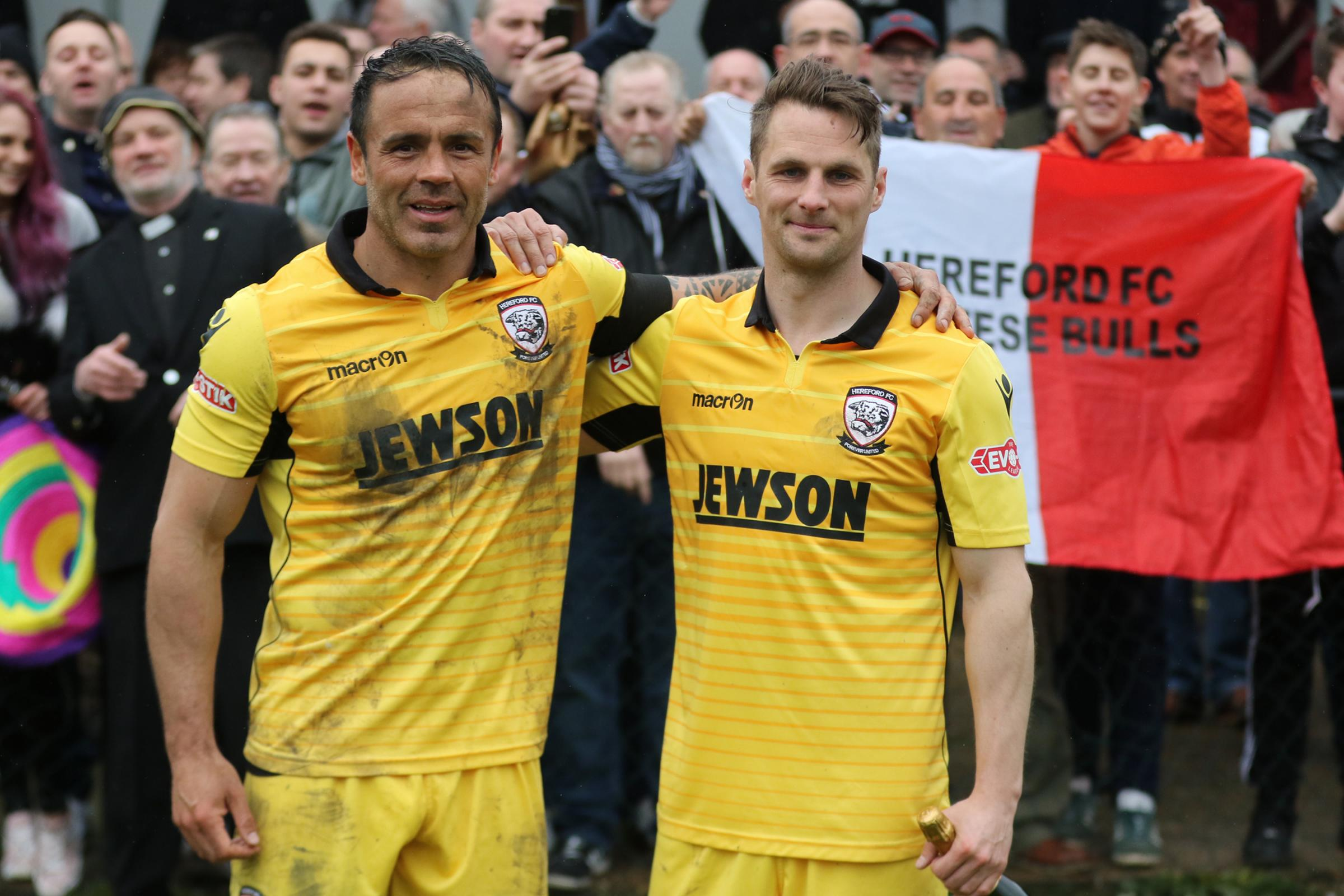 Hereford legends Ryan Green and Rob Purdie. Picture: Steve Niblett/Hereford FC