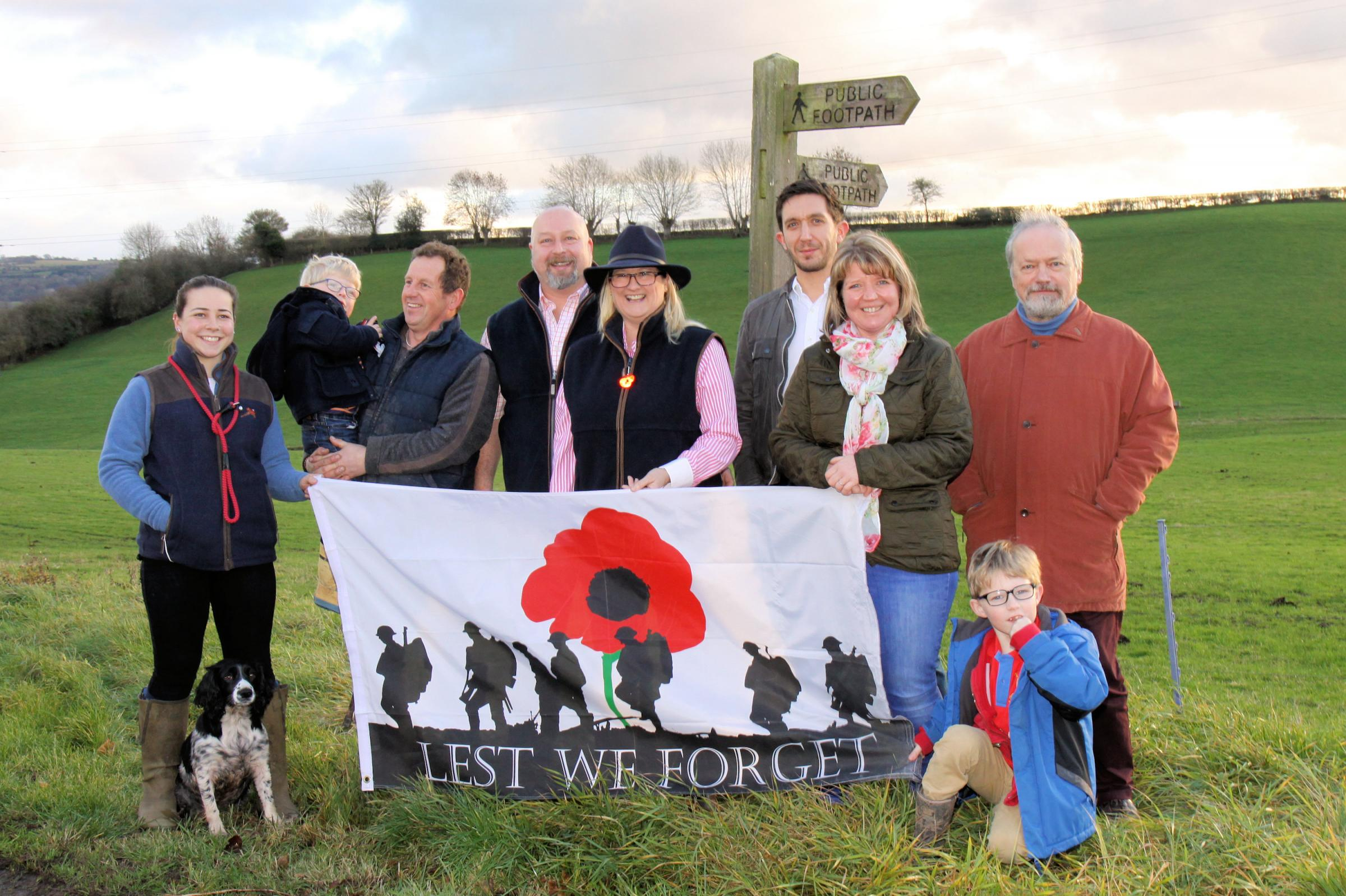 Project organisers and local residents at the proposed location - Saffie Howells with Clover, Sam and Ian Mapp, Duane and Dawn Hubbard, Barney Williams, Emma Mapp, Chris Dell and Jack Mapp