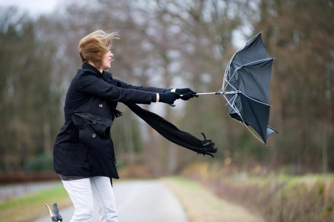 A young woman is fighting against the storm with her umbrella.