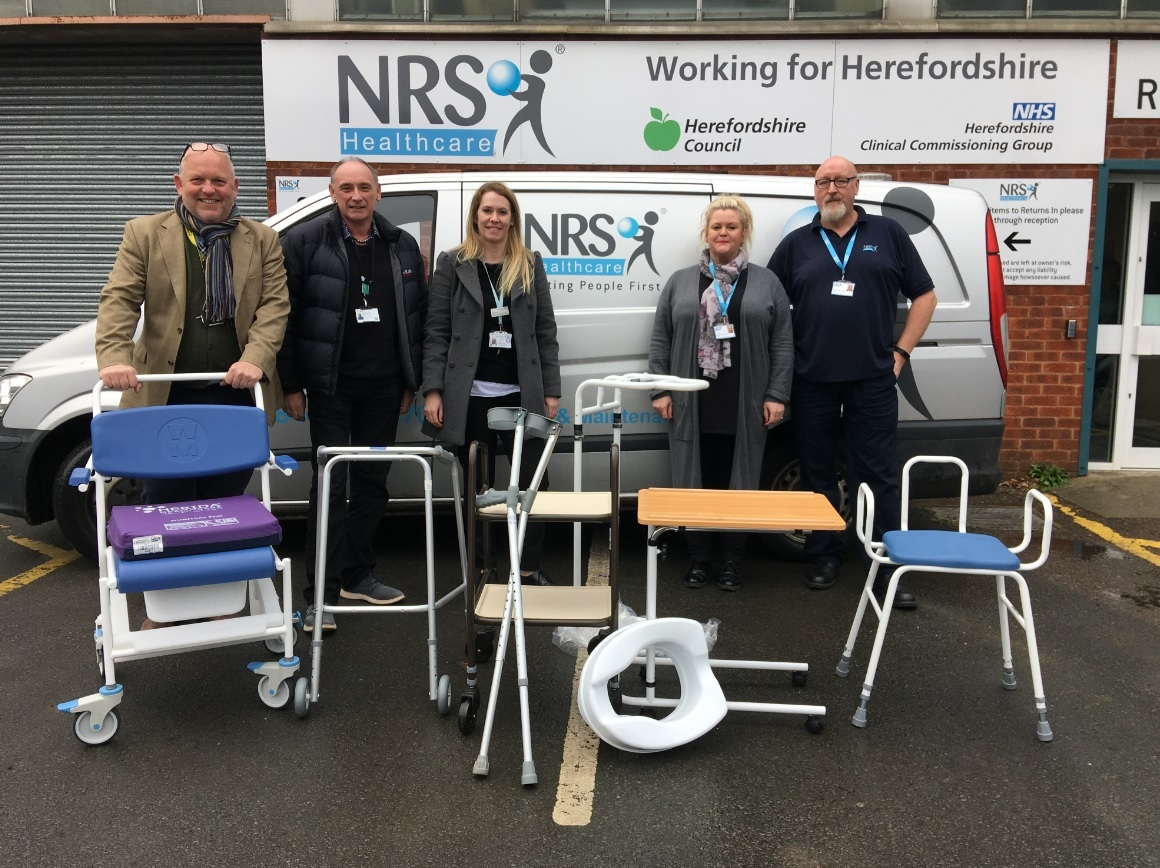 From left: Councillor Paul Rone, Martin Rowland, ICES Clinical Lead, Herefordshire Council, Jo Burns, Clinical Manager for Physiotherapy, Wye Valley NHS Trust, Lisa Jones, Site Operations Team Leader, NRS Healthcare, Andy Hartles, Field Operations Team Le