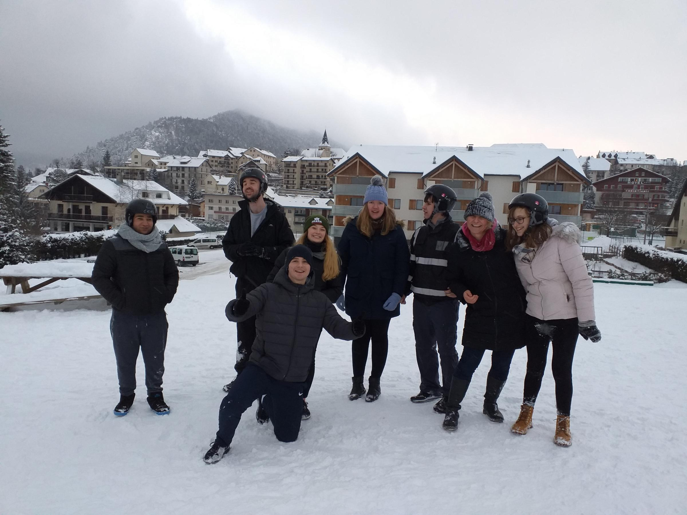 Royal National College for the Blind students and staff member in Villard De lans in the French alps. From left: Nathan Bouzidi, Robert Cummings, Heather Hughes (French partner college work placement student from Liverpool), Tom Bendall (outreach and even