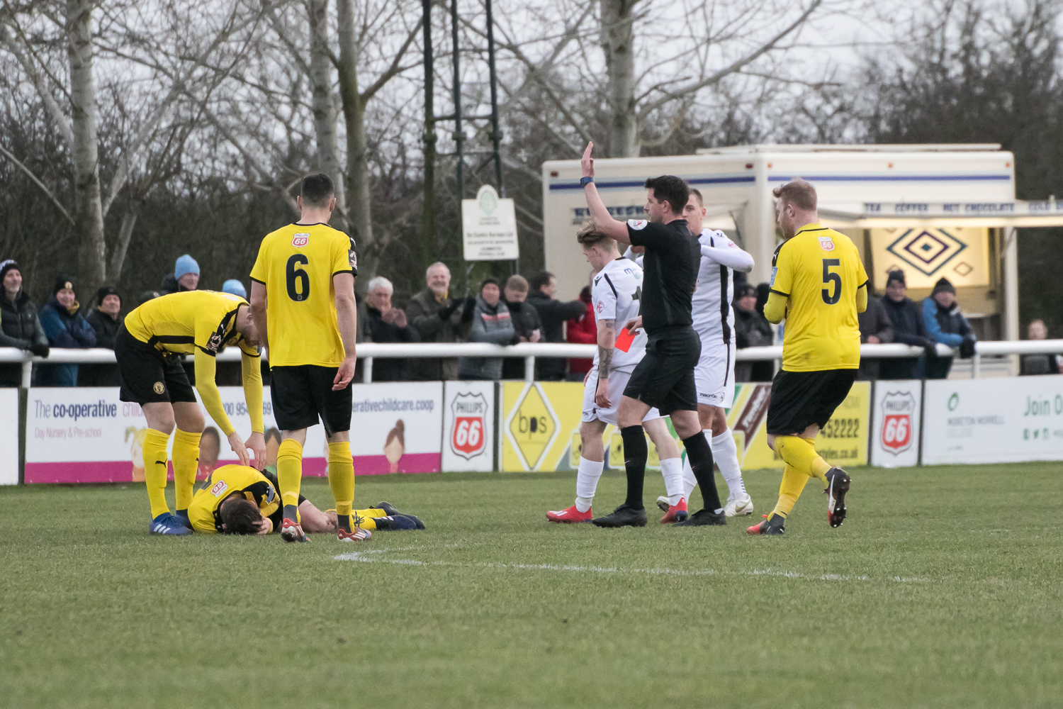 James Waite is shown red against Leamington. Picture: Andy Walkden/Hereford FC