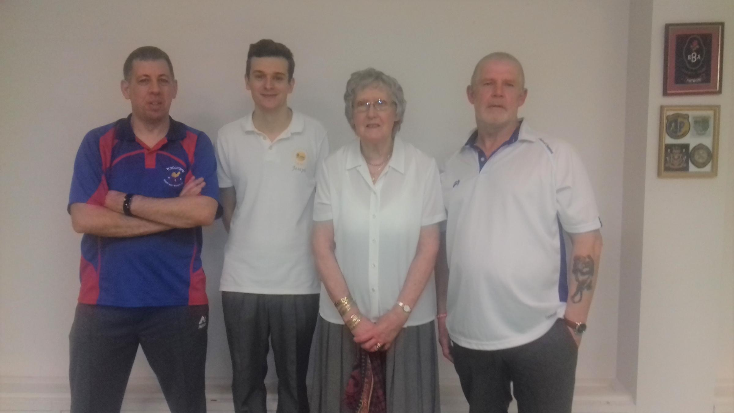 Pairs Finalists (L to R)	John Mills, Joe Loveys, Sheila Whittingham and Peter Wright