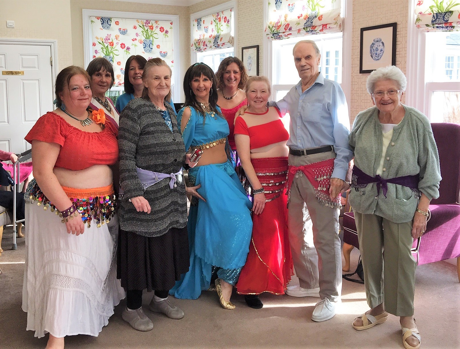 Dancers Alanya, Liz, Jane, Sarah and Trish were joined by receptionist Jill Walsh and residents Brenda Thompson, Peter Stock and Pam Parry